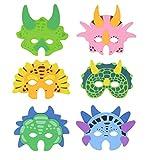 Henbrandt 12x Máscaras de espuma de dinosaurio - Máscaras de fiesta para niños / Máscaras de...