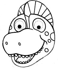 imprime pinta y recorta la careta de dinosaurio